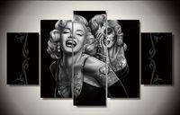 imagen de tatuajes al por mayor-Marilyn sonríe ahora Sexy Tattoo Poster 5 Unids lienzo fotos de pintura para sala de estar cuadros arte de la pared cuadros decorativos