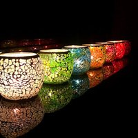 Wholesale Desktop Bowling - Glass Mosaic Candle Holders Colorful Round Mini Candlestick For Home Desktop Decoration Candler High Quality 7 2zb YB