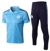 Wholesale marseille football kit - 17 18 New Marseille Soccer Jersey polo pants kit 2018 L.GUSTAVO Maillot de Foot Payet football shirt kit Olympique de Marseille tracksuit