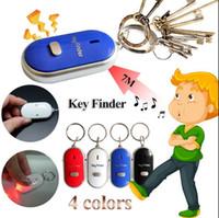 schlüssel anti verloren pfeife großhandel-LED Anti Lost Keys Finder Schlüssel Chain Whistle Locator Finden Alarm Tracker Blinkende Beeping Remote Keyring OOA4790