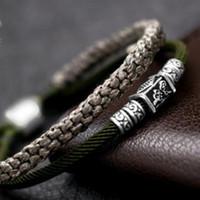 pulseira de tecido chinês venda por atacado-Jóias de luxo S925 pulseiras de prata esterlina para homens nó chinês tecer artesanal clássico simples pulseiras hot fashion livre de transporte