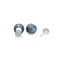 925 sterling silber kugelschreiber großhandel-Authentische natürliche blaue Kristall Double Ball Frauen Ohrringe Original Box Fit Pandora Charms 925 Sterling Silber Ohrring Stud Ohrring