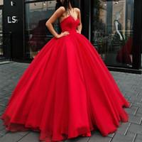 ünlü prenses elbisesi toptan satış-Kırmızı Prenses Gelinlik Modelleri Uzun 2019 Balo Straplez Tül Örgün Abiye giyim Büyük Puf Ünlü Kırmızı Halı Elbise Kadınlar için