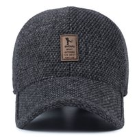 Wholesale woolen ball - Winter Woolen Keep Warm Men Cap For Dad Fashion Outdoor Baseball Caps With Ear Protecter Adjustable Hats gs Z