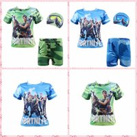 Wholesale kids swimwear - 12pcs Fortnite Kids Swimwear Letter Teenage Swim shirt Trunks Shorts and Cap Swimsuit Cosplay MMA242