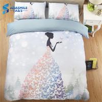 karikatür tarzı düğün toptan satış-Prenses Tarzı Güzellik Yatak Örtüsü Ev Tekstili Dekorasyon Rahat Bedcover Kızlar Yatak Odası Yatak Nevresim Düğün için Setleri