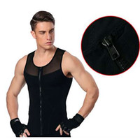 cintos de compressão corporal venda por atacado-Men tshirt shaper slimming belt belly vest waist trainer posture corrector men compression shirts underwear men body