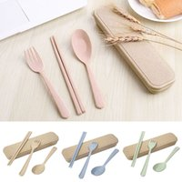 Wholesale blue steel knife - 3 Pcs set Wheat Straw Travel Tableware Cutlery Set With Dinnerware Case Cutlery Set Portable FFA380