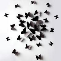 frigoríficos negros al por mayor-Mariposa negra Simulación de mariposa imán de nevera imanes de nevera Etiqueta de la pared o cortina de decoración con Halloween de alta calidad