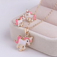 Wholesale metal cat decoration - 3pcs set pink horse unicorn jewelry sets kits for women girl animal decorations earrings necklaces dog cat unicorn bee 4 styles