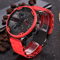 multi clock оптовых-Мужские спортивные часы новые роскошные бренды DZ мода мужские наручные часы 50 мм большой циферблат авто дата мульти часовой пояс Красный атмосферные часы Relógio