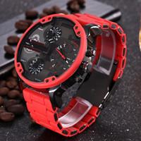 relógios de luxo venda por atacado-Esportes dos homens Relógios Novas Marcas de Luxo DZ Moda Masculina Relógios de Pulso 50 MM Grande Dial Auto Data Multi Fuso Horário Vermelho Atmosférico Relógio Relógio