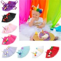 Wholesale Princess Props - Nishine Newborn Tutu Dress With Unicorn Horn Headband Set Girls Birthday Photography Props Kids Dresses Princess Clothes