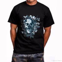 en iyi siyah fırsatlar toptan satış-Boynuzlu Tek Kafatası Kısa Kollu erkek Siyah T-Shirt Boyutu S-5Xl T-shirt Erkekler Best Deals Kısa Kollu Crewneck Pamuk 3XL Çift Tee Shi