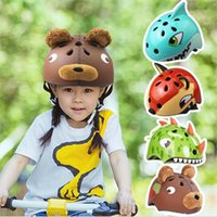 Wholesale bb bears - Cycling Children Casque Travel Camping Equipment Crazy Animal Small Dinosaur Cool Shark Fox Teddy Bear Riding Moto Crash Helmet 57aj bb