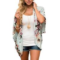 yeni kadın ön açık hırka toptan satış-2018 Yaz Yeni Plaj Şifon Bluz Gömlek Casual Yaz Kadın Çiçek Şifon Hırka Açık Ön Yarım Kollu Kimono Kırmızı Pareo