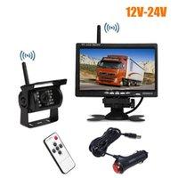 moniteur de caméra de camion achat en gros de-Kit de vue arrière de véhicule sans fil 18 IR LED Caméra de recul + moniteur 7 pouces LCD pour bus camion avec chargeur de voiture