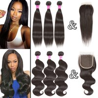 Wholesale middle part closure weave straight - Brazilian Virgin Hair 8A Straight Human Hair 3 Bundles with Closure 100% Unprocessed Body Wave Weaves and Lace Closure Human Hair Extensions