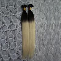 você inclina extensões de cabelo 1g venda por atacado-100% Humano 100G 100 S Ombre T1B / 613 Extensões de Cabelo Loiro 1g U Ponta Extensões de Cabelo de Queratina Extensões de Cabelo Cápsulas