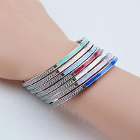 bracelet en diamant couleur achat en gros de-Bracelet en argent sterling 100% 925 Bracelet 7color Bracelet en argent de couleur à choix multiples Nouveau émail époxy