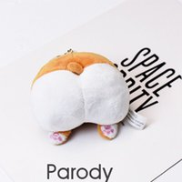 Wholesale butt stick resale online - 1PCS Kawaii Plush Keychain Funny Corgi Cat Butt Stuffed Animals Filled Soft Toys Bag Decoration Pendant Girls Toys