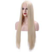 lange seidig blonde haare großhandel-Synthetische Blonde Lace Front Perücken Glueless Long Silky Straight Günstige Blonde Kunsthaarperücke Für Weiße Frauen