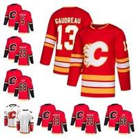 m branco venda por atacado-13 Johnny Gaudreau Calgary Flames temporada Jersey 5 Mark Giordano 23 Sean Monahan versão em branco 68 Jaromir Jagr Costurado Hockey Jerseys