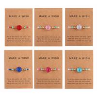 steine machen armbänder großhandel-Handgemachte Druzy Harz-Stein-Armband Machen Sie einen Wunsch-Karte Wachs Seil geflochtene Armband-Armbänder mit Reis-Korn für Frauen-Mädchen-Sommer-Strand-Schmuck