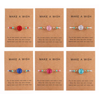 Wholesale handmade cards resale online - Handmade Druzy Resin Stone Bracelet Make a Wish Card Wax Rope Braided Bracelets Bangles With Rice Bead for Women Girls Summer Beach Jewelry