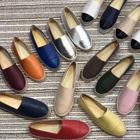 Wholesale loafer canvas shoes resale online - women leather Espadrilles flat shoes Designer shoes two tone Canvas classic Loafers Real Lambskin Summer trainers multicolor Size