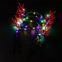 coole party spielzeug großhandel-Weihnachtsversorgung Cooles LED Geweih Stirnband Leuchtende Kopfbedeckung Blitzlicht Halloween Konzert Performance Party Hochzeit Spielzeug Kopfschmuck