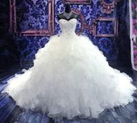 vestido de novia catedral cariño al por mayor-2019 de lujo bordado con cuentas vestidos de novia de la princesa del vestido del amor del Organza del corsé de la catedral riza el balón vestido de boda viste barato