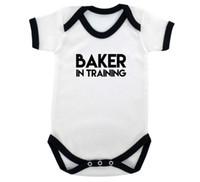 t recortar al por mayor-17 18 panadero en el entrenamiento T Shirt Blanco Negro recorte torta babygrow bake NUEVO