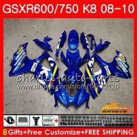gsxr neue verkleidungen großhandel-Bodys Für SUZUKI GSXR 600 750 GSX R750 R600 GSXR600 08 09 10 9HC.0 GSX-R750 GSXR-600 K8 GSXR750 2009 2010 Verkleidungsset New Factory blau