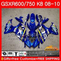 carcaça gsx venda por atacado-Bodys Para SUZUKI GSXR 600 750 GSX R750 R600 GSXR600 08 09 10 9HC.0 GSX-R750 GSXR-600 K8 GSXR750 2008 2009 2010 kit Carenagem New Factory azul