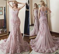 robe de soirée nue achat en gros de-Robes de soirée de sirène rose sombre 2019 sexy dos nu spaghetti sangle dentelle appliqued paillettes longues robes pageant robes robe de bal