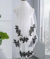 çift düğün peçe toptan satış-Tarak ile Gelin Veil Gotik Siyah Dantel Aplike Çift Veil Düğün