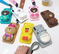 étuis iphone doux doux achat en gros de-3D Cartoon Totoro Cony Sally Zipper Portefeuille Cute Cartoon Soft Case Silicone Téléphone pour iPhone 6 6 s Plus 7 8 Plus X XR XS Max