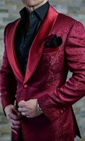бордовый галстук пейсли оптовых-New Arrival One Button Burgundy Paisley Groom Tuxedos Shawl Lapel Groomsmen Men Blazers Suits (Jacket+Pants+Tie) NO:327
