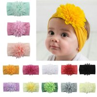 Wholesale fashion flower girl bows hair resale online - New Arrival Cute Kids Girl Baby Solid Soft Nylon Comfortable Fashion Casual Headbands Infant Newborn Flower Bow Hair Band Accessories