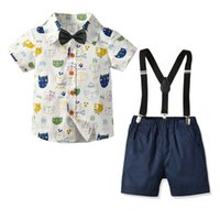 ingrosso vestito in denim europeo-Ragazzi europee e americane stile nuovo vestito Gentleman ragazzi bambino denim Anni Dress Set
