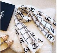 ingrosso scialli lunghi donna-Sciarpa di seta di lusso per le donne 2019 primavera e l'estate Designer Logo completa sciarpe lunghe size180x90Cm scialli trasporto libero