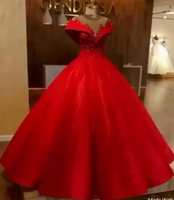 Wholesale white long simple elegant dresses for sale - Red Ball Gown Wedding Dresses New Elegant Off Shoulder Appliques Beads Corset Puffy Long Bridal Gowns Formal Dress BC0680
