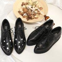 oxfords de plataforma preta venda por atacado-Sapatos baratos Star Platform Sneakers Mulheres Lace Up Wedge Oxfords Couro Genuíno Dedo Apontado Grosso Fundo Mocassins Pretas Sandalias Mujer