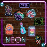 Wholesale novelty online - 50 Neon Sign Stickers Doodle Novelty Sticker Toy for Kids DIY Home Laptop Luggage Scrapbook Bottle Skateboard Motorcycle Guitar Cool Gif