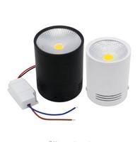 ingrosso 3w soffiato bianco soffitto-COB Surface LED montato Downlight 3W / 5W / 7W / 10W / 12W / 15W bianco / nero Housing AC85-265V soffitto Spot Light Home Decor