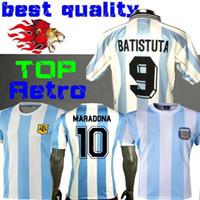 retro ev toptan satış-Retro Sürüm 1986 Arjantin ev Futbol forması Messi Maradona CANIGGIA 1978 Kaliteli Futbol Gömlek Batistuta 1998
