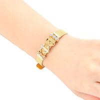 relógios âncora venda por atacado-3 Cores de Aço Inoxidável Cinto De Malha Pulseira Faixa de Relógio Ajustável Fivela Âncora Encantos Do Coração Cuff Bangle Pulseira Mulheres Decoração de pulso