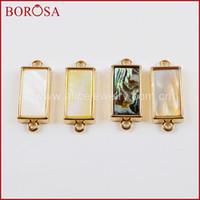 безделушки оптовых-BOROSA 20PCS Rectangle Natural Shell Bezel Gold Connectors Wholesale Abalone Shell Double Charms Simple Design WX1002