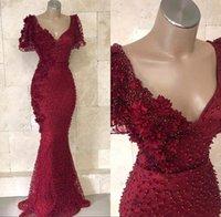 abendkleider perlen großhandel-Luxus Dunkelrot Arabisch-Spitze-Nixe-Abend-Kleider 2019 mit kurzen Ärmeln V-Ausschnitt-wulstige Perlen Lange Vestidos Partei-Abschlussball-Kleider BC0955
